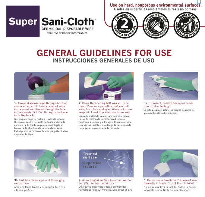 Sani-Cloth guidelines for use